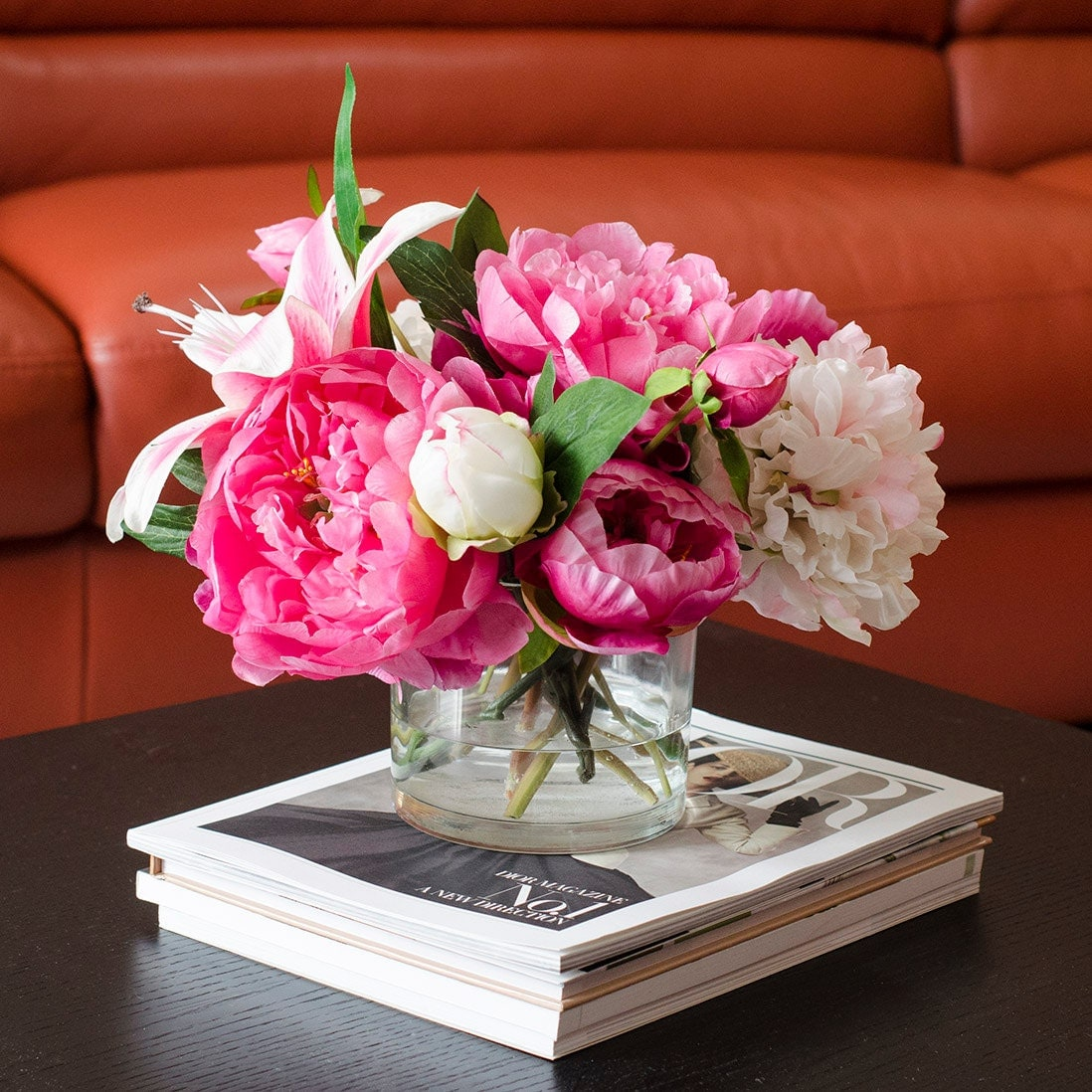 Large Silk Peonies Arrangement With Casablanca Lily Fuchsia Pink Peonies Silk Flowers Artificial Faux In Glass