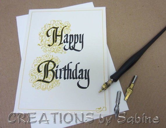 Happy birthday card handwritten calligraphy by