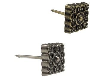 """Square Floral Upholstery Tacks 1/2"""" Leather Tacks 10 Pack Upholstery Nails # 115-"""