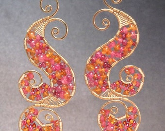 Hammered swirl earrings with amber & ruby Luxe Bijoux 130