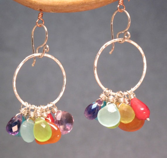 Hammered hoops with dangling bright colored stones Siren 193