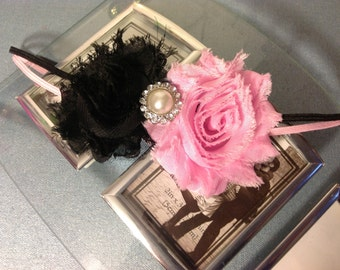 Pink and Black Shabby Chic Flowers on a Headband with Rhinestone Pearl Embellishment , Infant to Adult