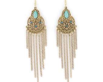Exquisite Gold-tone Bohemia Style Turquoise Long Fringe Drop Earrings,C2