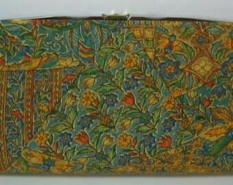 Green and gold floral silk clutch purse, early 1970s vintage Japanese handbag, bridal handbag
