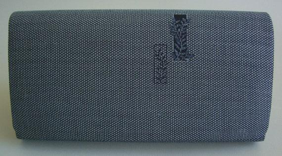 Blue/grey soft kimono silk clutch purse, vintage Japanese