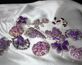 reserve fpr janice PURPLE BROOCHES  For Wedding 12 Pieces