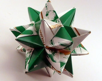 Medium Origami Star Made From Marshall University Paper, Thundering Herd Ornament, Marshall University Decoration