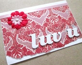 Valentine Card Love You Pink & Red