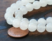 Dyed Jade Beads, Semitransparent White, 8mm Round - 15 inch strand eSJR-N47-8