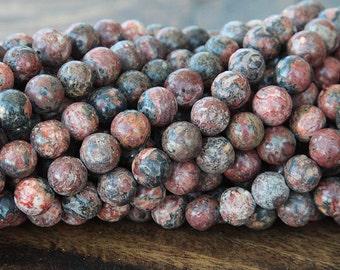 Leopard Skin Jasper Beads, 8mm Round - 15 inch strand - eGR-JA003-8