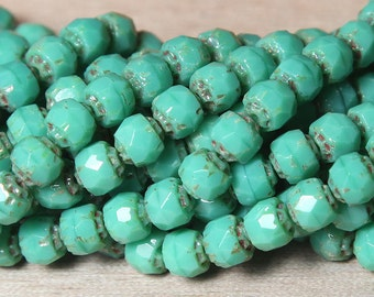 Renaissance Opaque Turquoise Picasso Beads, 6mm Faceted Round - 25 pcs - eT6313-6f