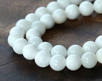 Shell Beads, White, 8mm Round - 16 Inch Strand - eSH001-8