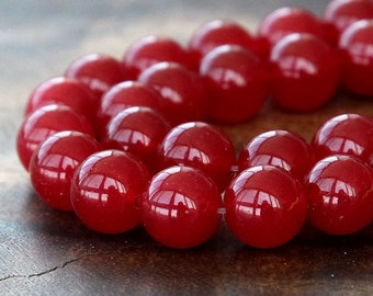 Dyed Jade Beads, Semitransparent Red, 10mm Round - 15 inch strand - eSJR-R06-10