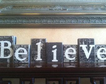 Wood Believe block set / Wood Believe sign / Christmas Home decor