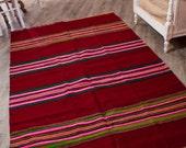 6.50ftx 4.20ft, Striped Kilim,Vintage Hand Woven Rug, Pure Organic Wool Rug , Oriental Rug , Accent Floor Rug,