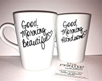 Latte mug couple set of 2 mugs set -good morning beautiful and handsome set perfect couple gift wedding gift, housewarming Gift