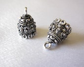 Oxidized silver small jhumkas or Indian hanging earring bases x 2, 12mm, JHS1