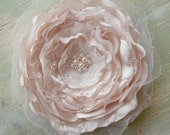 RESERVED FOR STEPH Shabby chic white and ivory satin hair flower / fascinator / corsage / wedding rose