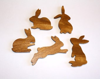 Bunny Rabbit Magnets-Hand Carved Set of 5