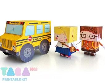 DIY Printable Cutout Dolls DIY Paper Toy, School Boy and Girl Printable Dolls, TaraStudents with School Bus, Educational Toy, Art Toy