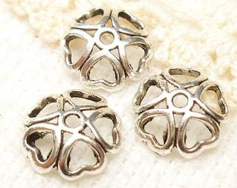 10mm Heart Petals Bead Caps, Antiqued Silver (20) - SF66