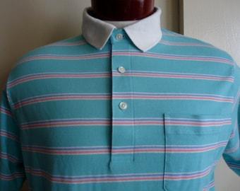 vintage 80's R.H.M. Classic Preppy pastel color block stripe aqua mint green pink periwinkle blue horizontal stripe polo shirt, men women un