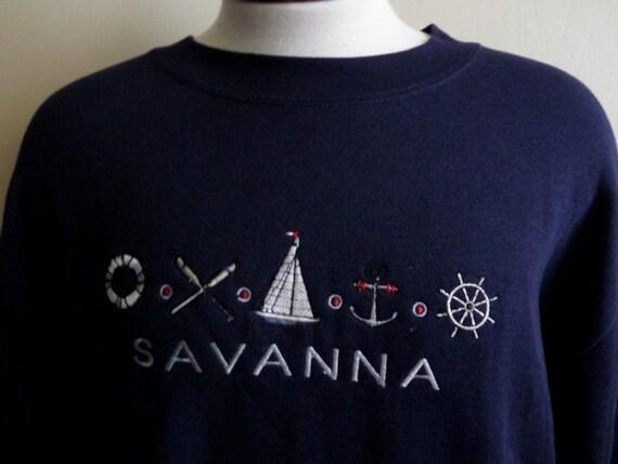 vintage 90's Savanna,Georgia tourist souvenir navy blue fleece men women unisex graphic sweatshirt, embroidered nautical yacht, anchor