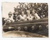 Old Photo Group Kids on Car Hood 1930s Photograph vintage Children snapshot Automobile