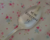We're Expecting   recycled silverware vintage hand stamped spoon birth announcement