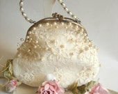 Bridal Clutch,Vintage Wedding Bag,Bridesmaids Clutch,Bridal Pearls Bag,Lace Bag,Vintage Wedding lace Bag