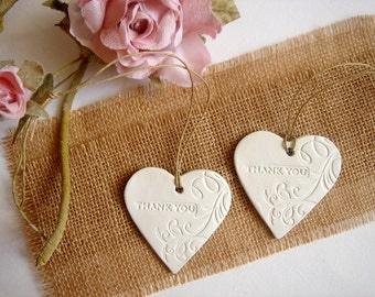 10 Ceramic Hearts Thank you Tags, Wedding  Favor Tags, Wedding Clay Tag, Ceramic Heart