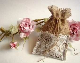 Burlap Favor Bags, Rustic favor bags with  lace, Rustic eco friendly bags, 12 Burlap Bags