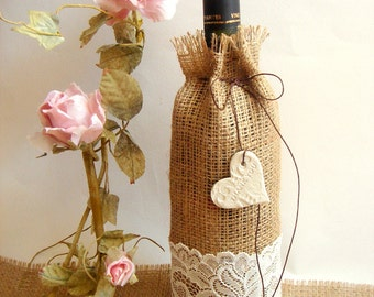 Burlap Wine Bag with clay hearts favor,Rustic Wine  Pockets