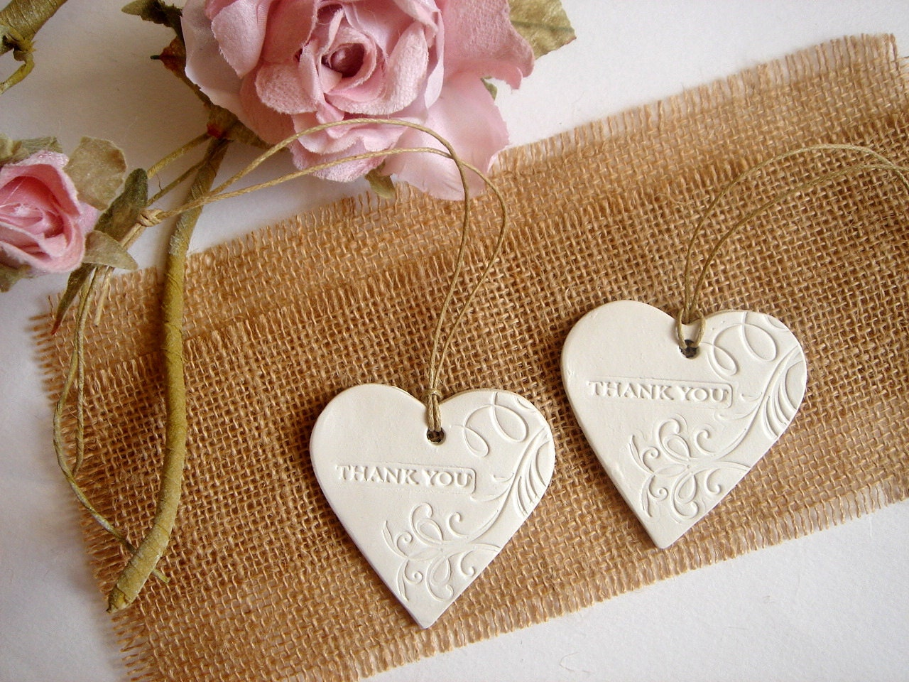 10 Ceramic Hearts Thank you Tags Wedding Favor Tags Wedding