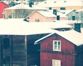 "Little colorful homes in Porvoo Finland 8""X12"" photograph."