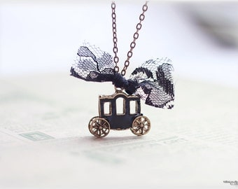 Old world horse carriage necklace, black enamel pewter hearse, fairy tale gothic theme jewelry, princess carriage
