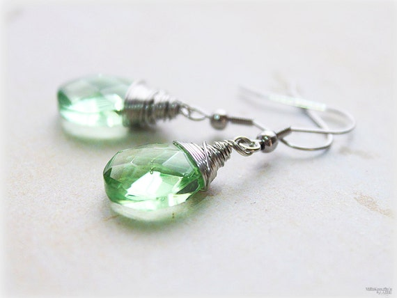 Green crystal earrings, dangle glass wire wrapped tear drop faceted briolettes in hypo-allergenic surgical steel ear wires, simple jewelry