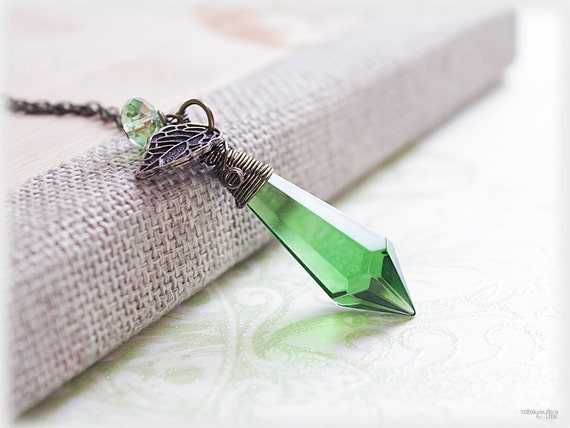 Green crystal glass necklace, emerald forest prism pendulum pendant wire wrapped in rustic antique bronze - woodland jewelry spring fashion