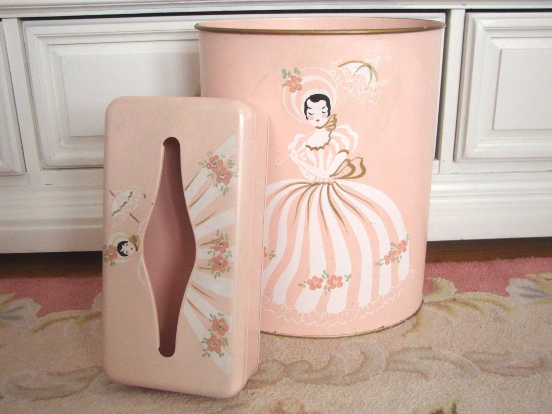 vintage ransburg wastebasket tissue box holder set pink. Black Bedroom Furniture Sets. Home Design Ideas