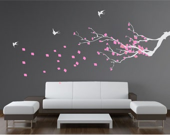 Branch with flowers and butterflies Wall Decal. Wall Sticker.