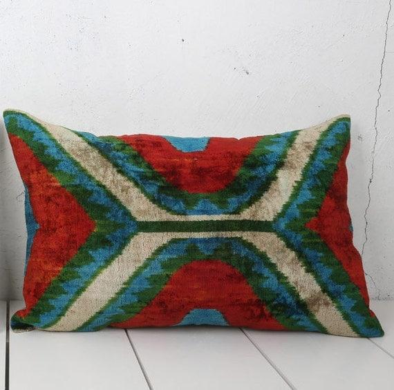 16 x 24 Decorative Pillow Accent Pillow Throw Pillow Ikat Pillow Cover Silk Pillow Green White Velvet Ikat Cushion - 03699-108