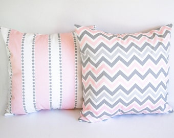 Pair of pillow covers Two cushion covers pink and gray throw pillow covers nursery decor pillow shams