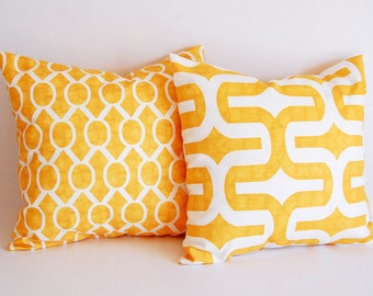 Yellow throw pillow covers pair cushion covers mustard yellow throw pillow covers
