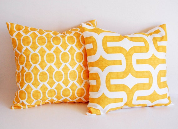 Items similar to Yellow throw pillow covers pair cushion covers mustard yellow throw pillow ...