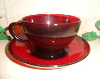 Royal Red Ruby Cup and Saucer, Unmarked,  Anchor Hocking