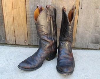 Vintage Cowboy Boots Black Brown Western Rockabilly