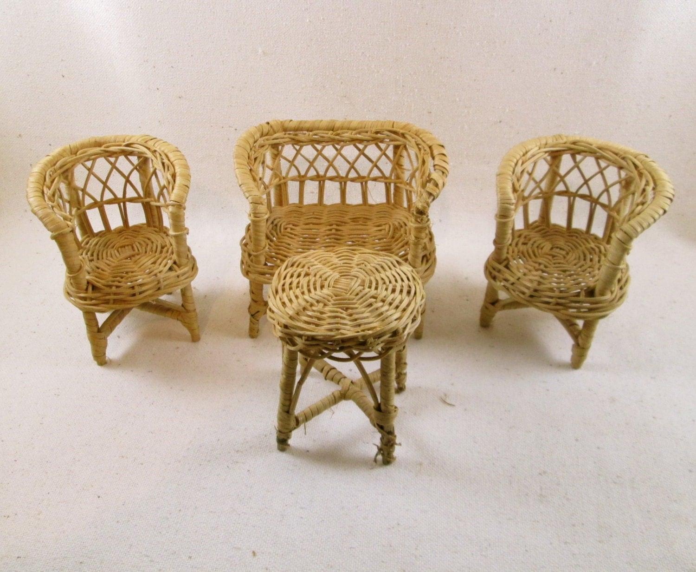 Vintage Wicker Doll Furniture Set 4 Piece