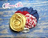 Red, Yellow, Navy Blue Headband, Hair Accessories, Flower Hair Bow, Hair Clip, Baby Girl's Hair Bows, Fabric Flower Brooch