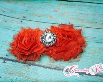 Dark Orange Shabby Chiffon Hair Bow, Red, Double Shabby Chiffon Trim Headband, Baby Hair Bows, Hair Accessories, Fabric Flower Hair Clip