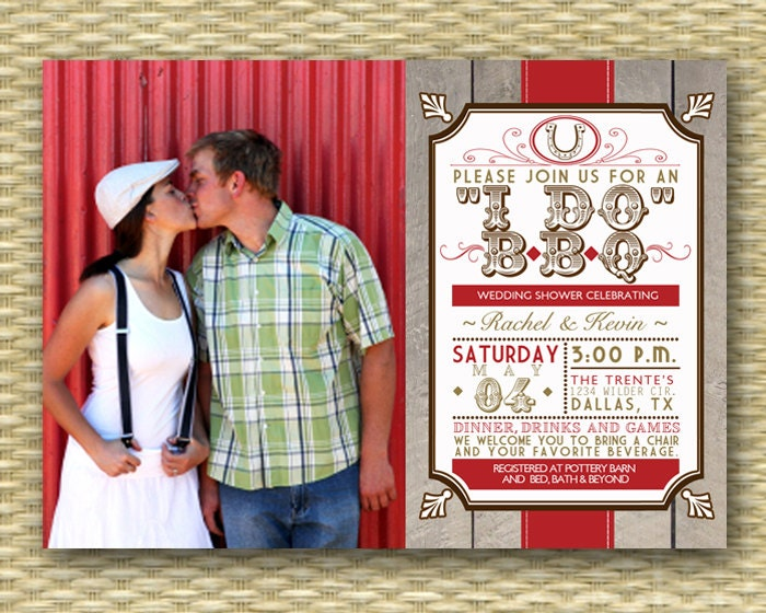 rustic country i do bbq wedding shower invitation bbq couples, Wedding invitations